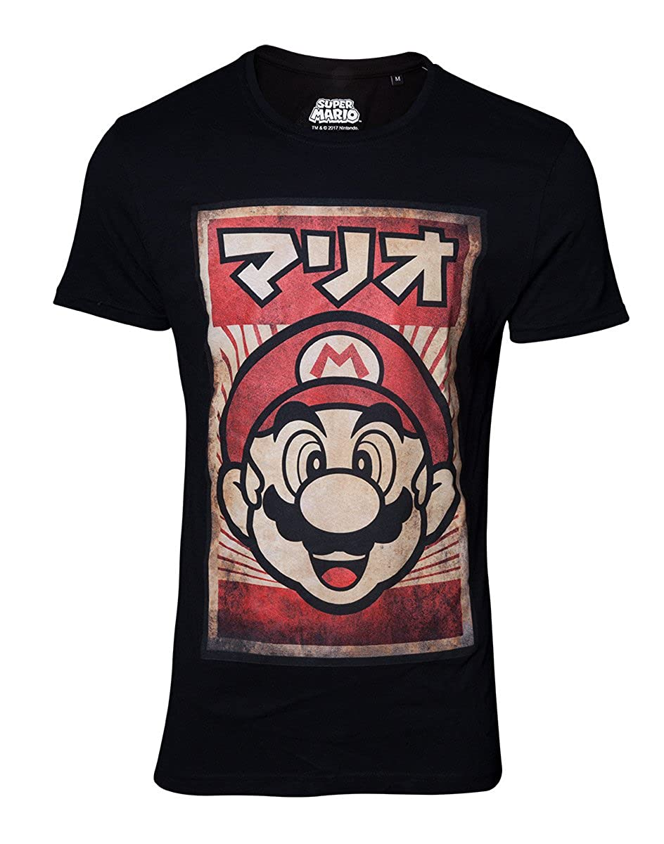 Bioworld EU Super Mario Men'S Camiseta Propaganda Poster Cotton Black
