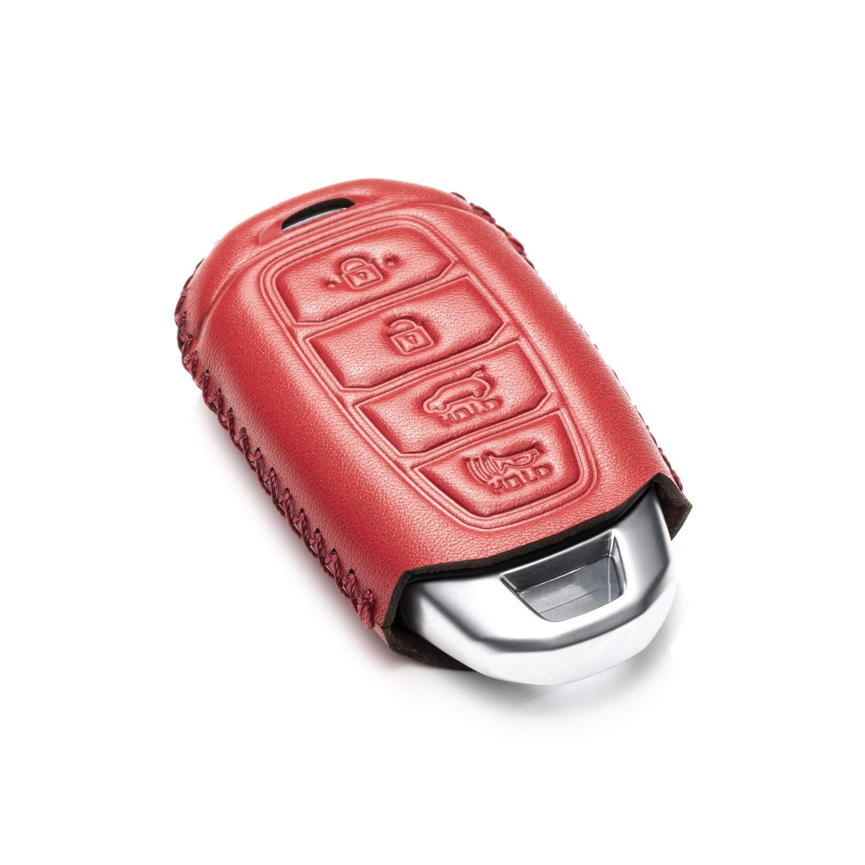 Vitodeco Genuine Leather Smart Key Fob Case Cover Protector with Leather Key Chain for 2017-2019 Hyundai Veloster Hyundai Kona 2019 Hyundai Santa FE 4-Button, Red