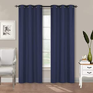 Home Collection 2 Panels Microfiber 100% Blackout Curtain Set Solid Navy Blue with Grommet Long Drapes for Kitchen, Dinning Room, Bathroom, Bedroom or Living Room Window New
