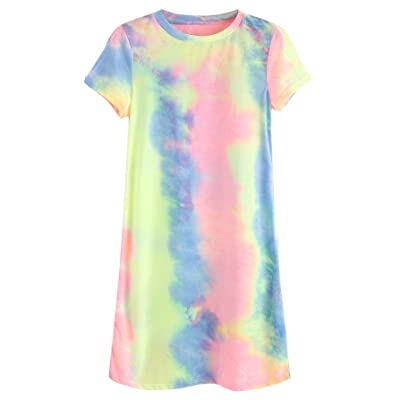 02e15d7f9707c ROMWE Women's Summer Casual Short Sleeve Tunic Dress Tie Dye T-Shirt Dress