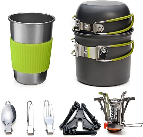 Odoland Camping Cookware Set Lightweight Camp Utensil Gear Includ Pot Pan Kettle Cups and Plate for Outdoor Camping Trekking Hiking and Picnic for 3 People Hiking cooking Kit with Camp Stove