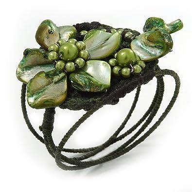 Olivgrün/Grün, Muschel/Perle/Blume, mit Draht, Flex-Armband ...