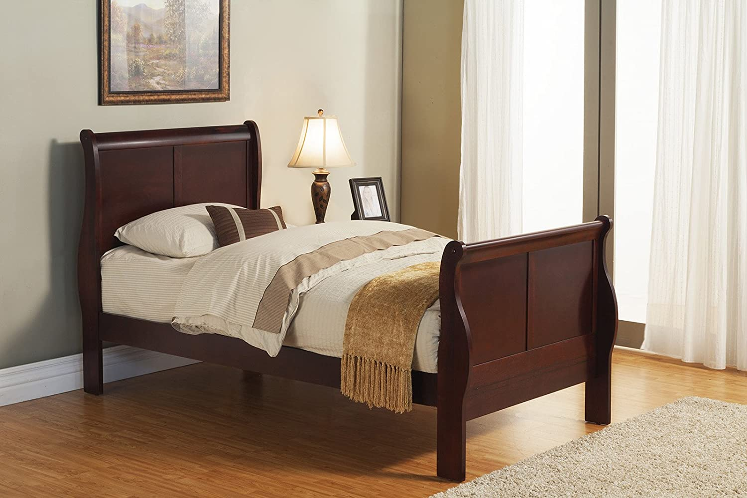 Amazon.com: Alpine Furniture Louis Philippe II Sleigh Bed, King Size: Home  U0026 Kitchen