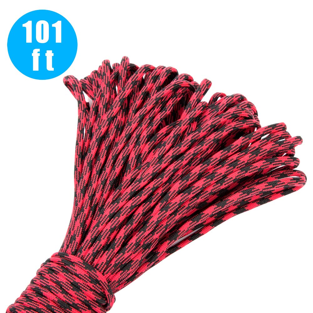 101Ft Paracord Rope and 24 Pcs Paracord Buckles Contoured Side Release Strong Clips Paracord Bracelet kit Outdoor Survival Rope Set for Making Monkey Fist,lanyards,Keychain,Carabiner,Dog Collar