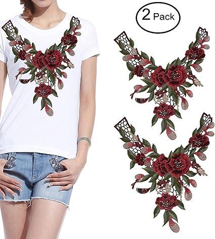 Lace Embroidered Venise Neckline Collar Trim Bridal Dress Sewing Applique Patch