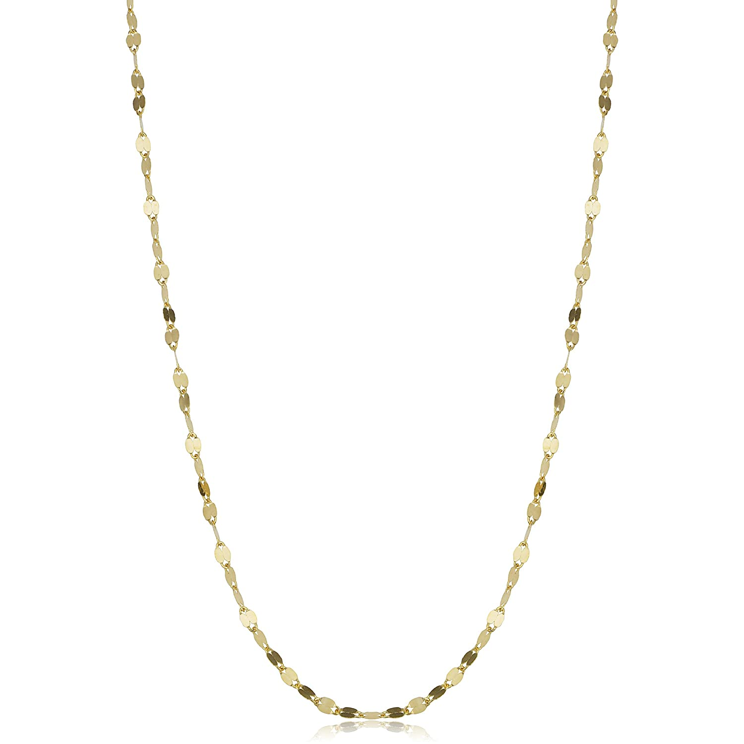 c852eafdedb Amazon.com: Kooljewelry 14k Solid Yellow Gold Flat Link Mirror Chain  Necklace (1.9mm, 24 inch): Chain Necklaces: Jewelry