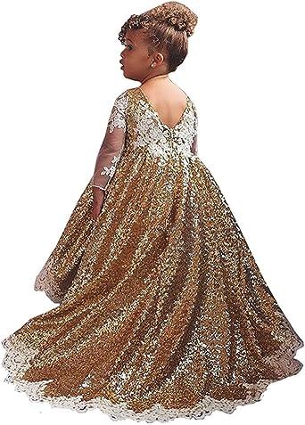 Kengtong Paillettes Robe Fille Fleur Fille Robe Brillante Pour Fille Filles Princesse Robe Costume Manches Longues Amazon Fr Vetements Et Accessoires