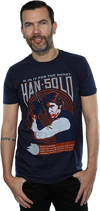 Star Wars Hombre Han Solo Rock Poster Camiseta: Amazon.es: Ropa y accesorios