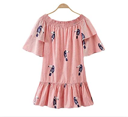 Amazon.com: Bang-pa Fashion women slash neck bird butterfly sleeve double ruffles ladies dresses vestidos QZ3017: Clothing