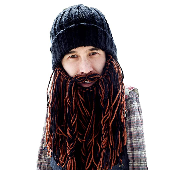 Beard Head Barbarian Roadie Beard Beanie - Funny Knit Hat w/Fake Beard Facemask
