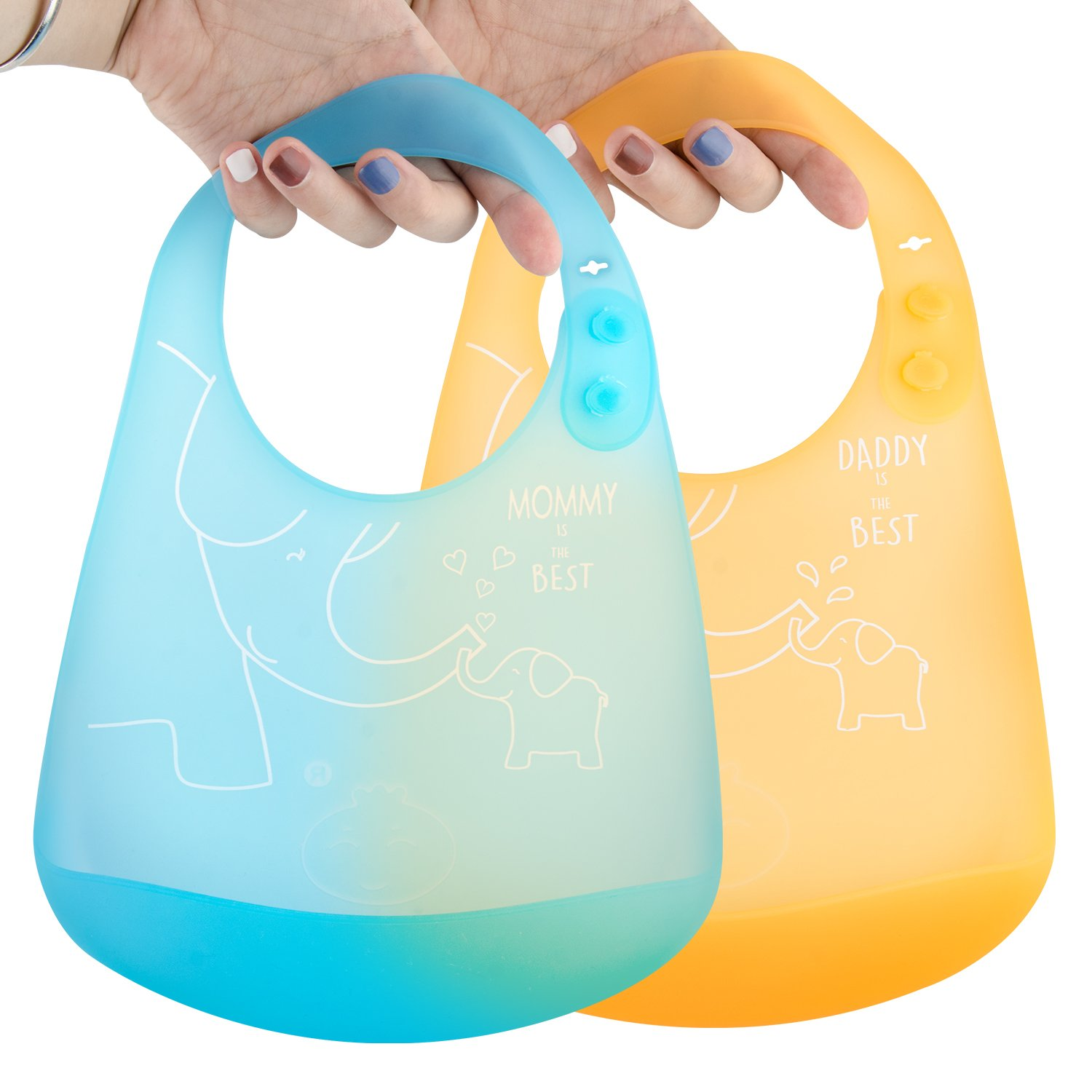 Silicone Baby Bib Waterproof & Soft - UB Extraordinary light(86g),Easily Wipes Clean,Comfortable Soft Baby Bibs Keep Stains Off,Save Time Cleaning after Meals with Babies or Toddlers! Set of 2 Colors
