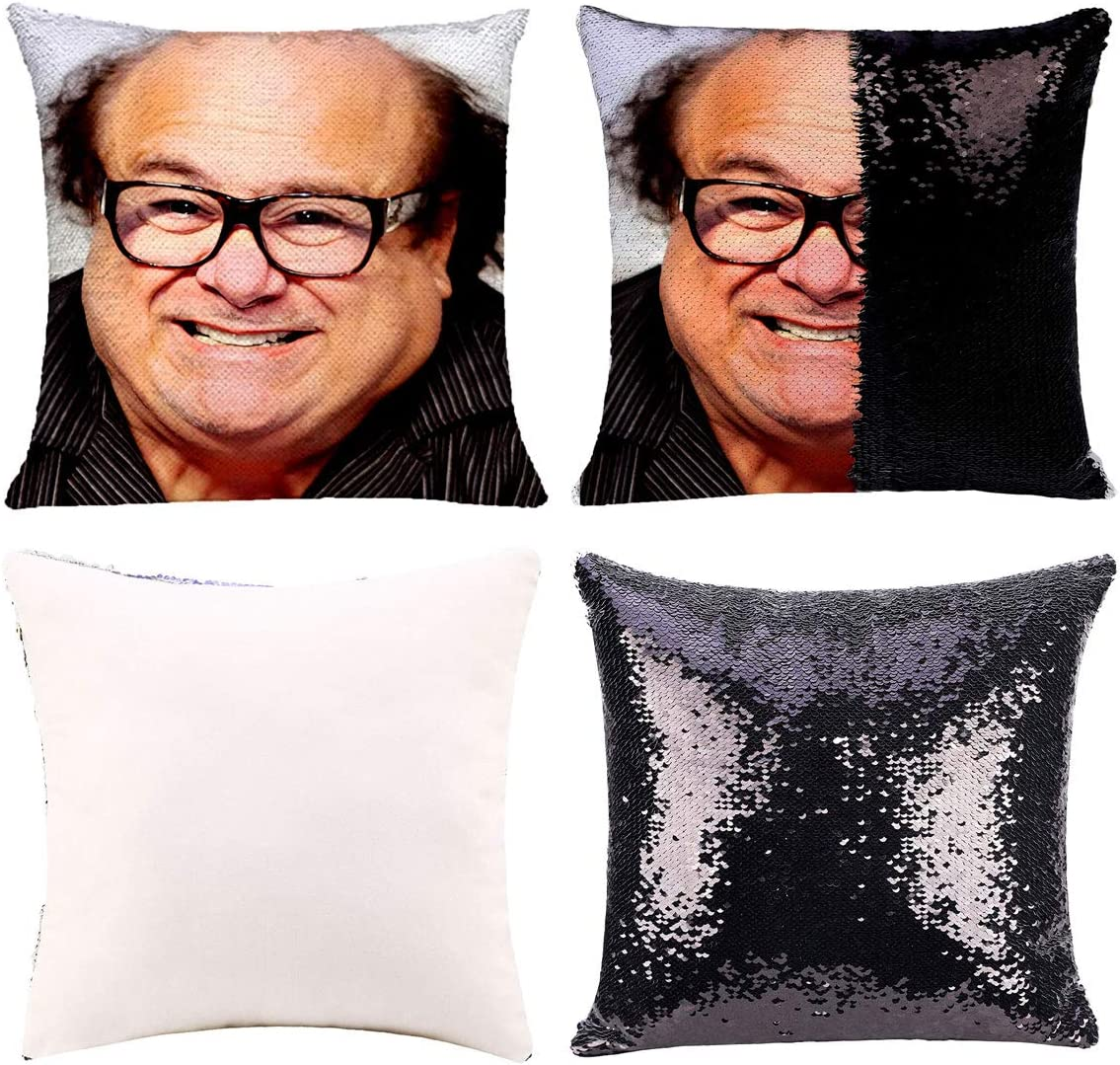 K T One Funny DIY Sequin Pillows Cover Face Magic Reversible Throw Pillow Cover Decorative Change Color Pillowcase 16x16 (Black)