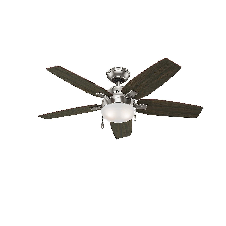 """Hunter Fan 46"""" Contemporary Ceiling Fan Brushed Nickel Light Kit"""
