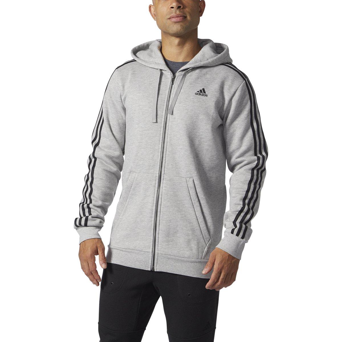 AdidasメンズAthletics Essential Cotton 3ストライプフルZipパーカー B01N9JKCHA 4X-Large|Medium Grey Heather/Black Medium Grey Heather/Black 4X-Large