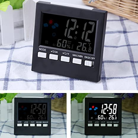 NASHINAL Weather Station Alarm Clock Hygrometer Termometro Digital Barometer Colorful Thermometer Calendar Clock desk LCD Display