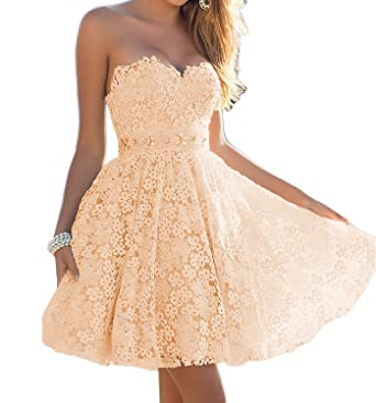 Udresses Cute Sweetheart Lace Homecoming Prom Dresses 2017 Short ...