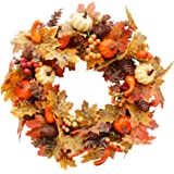 Ochine Fall Wreath 20 inch, Autumn Harvest Wreaths for Front Door Outside, Decoration with Maple Leaf, Pumpkin, Berries…