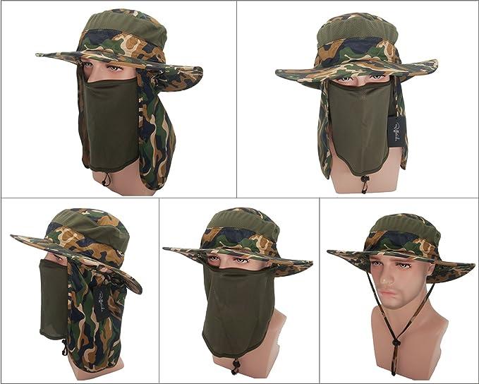 1b549755 Roffatide Detachable Sun Hat with Neck Flap Outdoor Fishing Mesh Bonnine Bucket  Cap Camouflage: Amazon.co.uk: Clothing