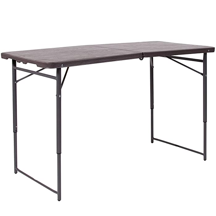 Flash Furniture 23.5''W x 48.25''L Height Adjustable Bi-Fold Brown Wood Grain Plastic Folding Table with Carrying Handle