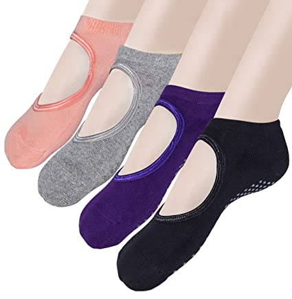 Loritta Yoga Socks Pilates Barre Non Skid Slip Ballet Socks with Grips for Women