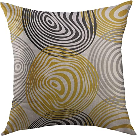 Mugod Pillow Case Brown Curve Yellow