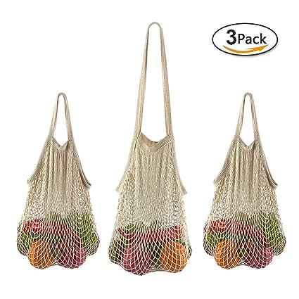 9b587f0baba Net Shopping Bag GreenLiiver Reusable Grocery Bags Net Storage Bag Long  Handle Cotton Mesh Net Tote Bag Fruit Vegetable Net Bags Organizer (Beige)
