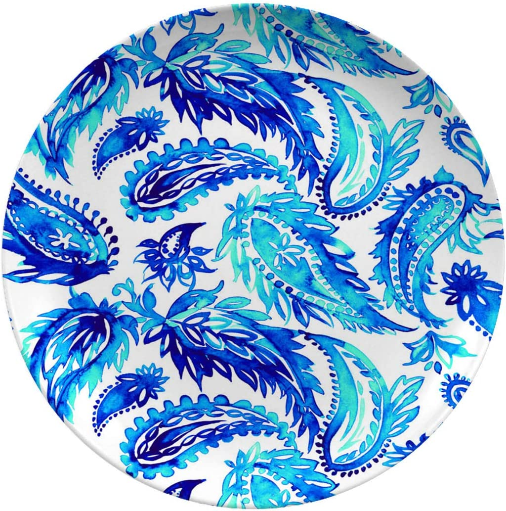 Ceramic Stoneware Dinner Plates,seamless Watercolor Paisley Pattern,dinner Plates For Indoor And Outdoor Use,break-resistant,10 Inch 6 Piece Set