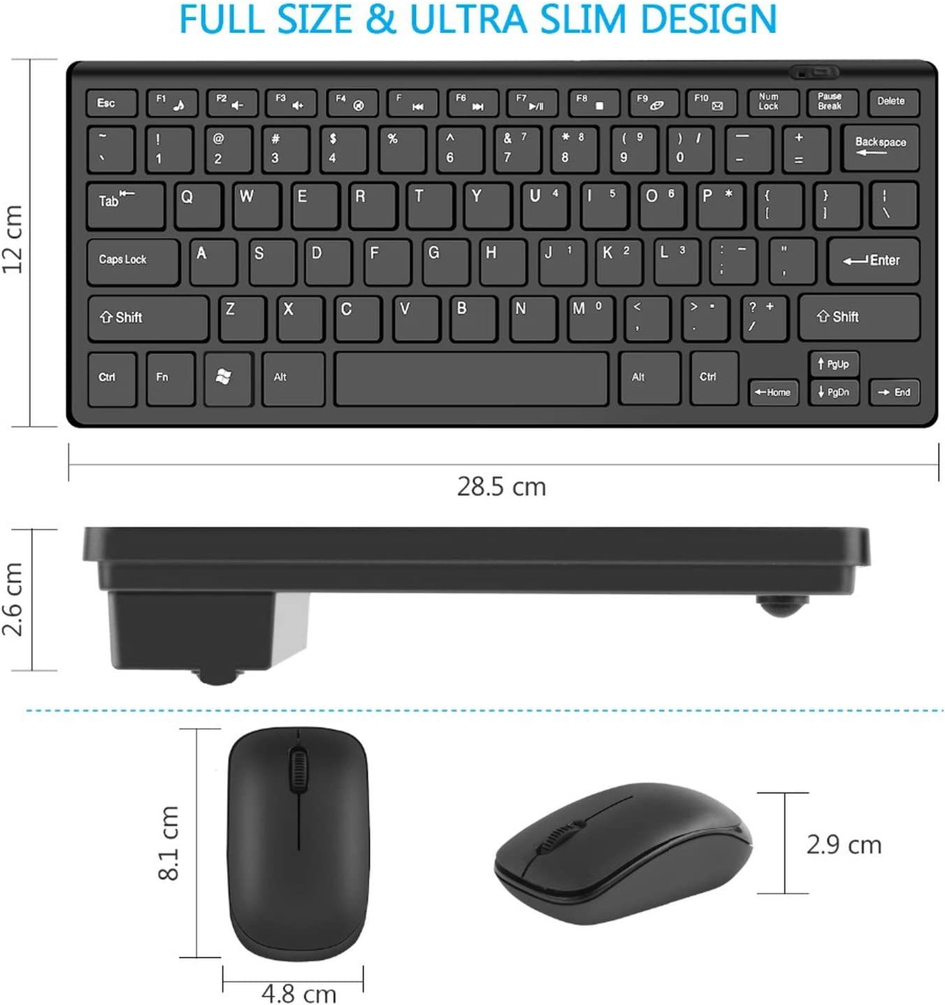 Mini Wireless Keyboard for Mac TV Box 2.4Ghz Keyboard Mouse Mice Combo Notebook Laptop Computer Accessories for Android Windows,White