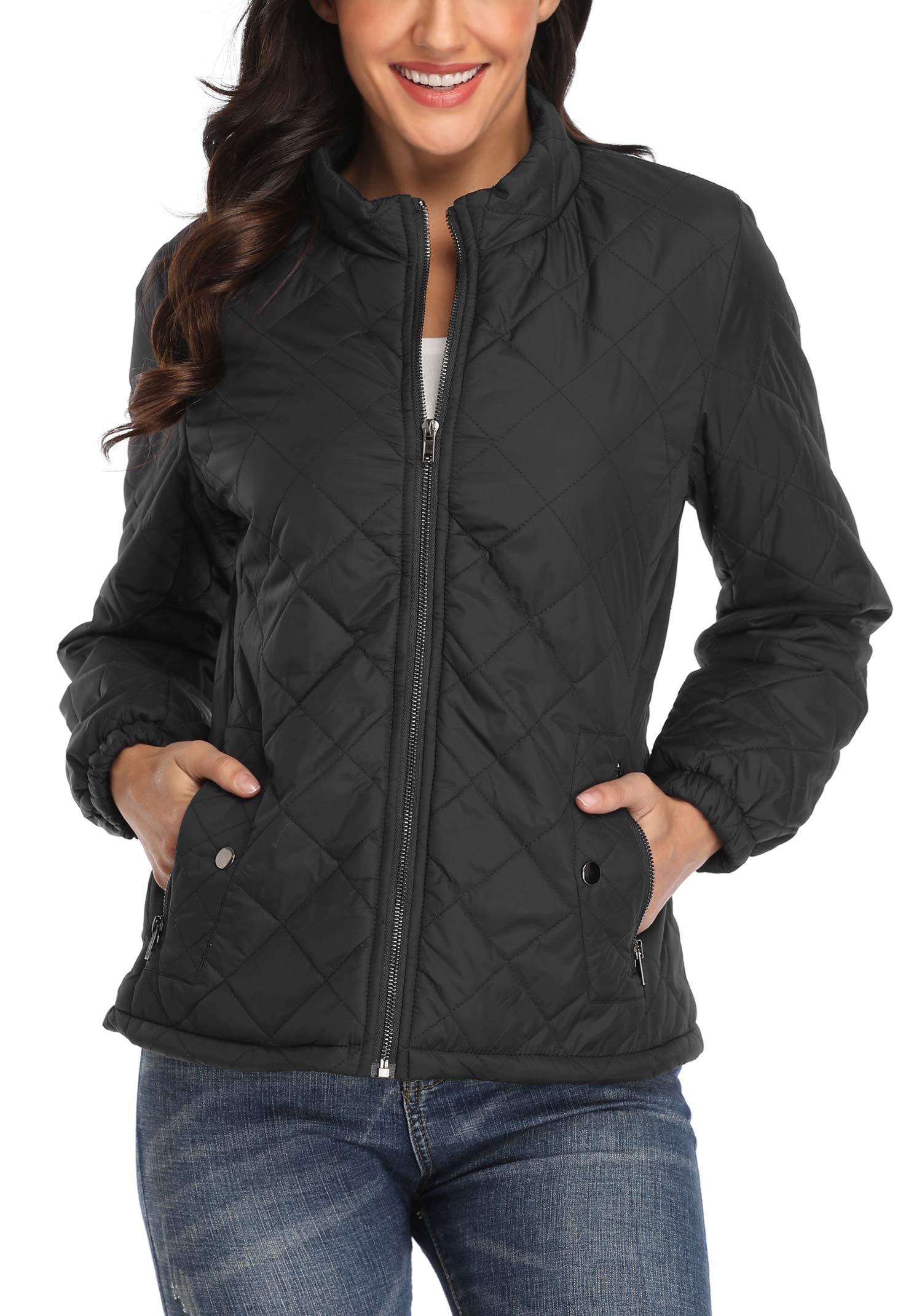 MISS MOLY Women's Quilted Puffer Jacket Lightweight Zip Up Winter Outwear Black XL by MISS MOLY