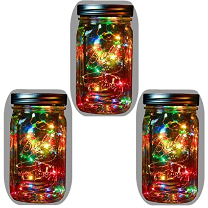 3a99116608181 3-Pack Solar Powered Mason Jar Lights (Mason Jar   Handle Included)