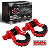"""AUTMATCH Shackles 3/4"""" D Ring Shackle (2 Pack) 41,887Ibs Break Strength with 7/8"""" Screw Pin and Shackle Isolator & Washers Ki"""