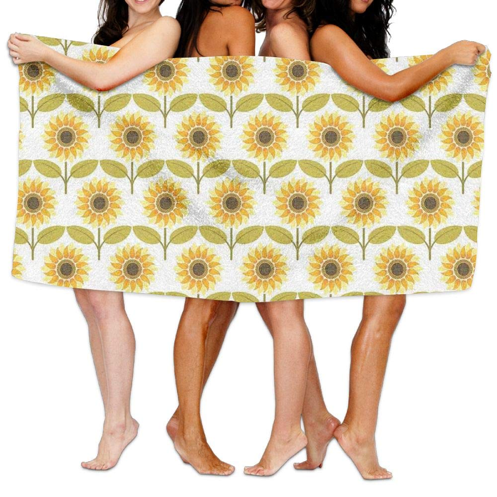 Haixia Plush Bath Towels Beach/Bath/Pool Towel 51.2'' X 31.5'' Sunflower Decor Sunflowers Pattern Autumn Country Style Decorating Retro Illustration Print Yellow White Green