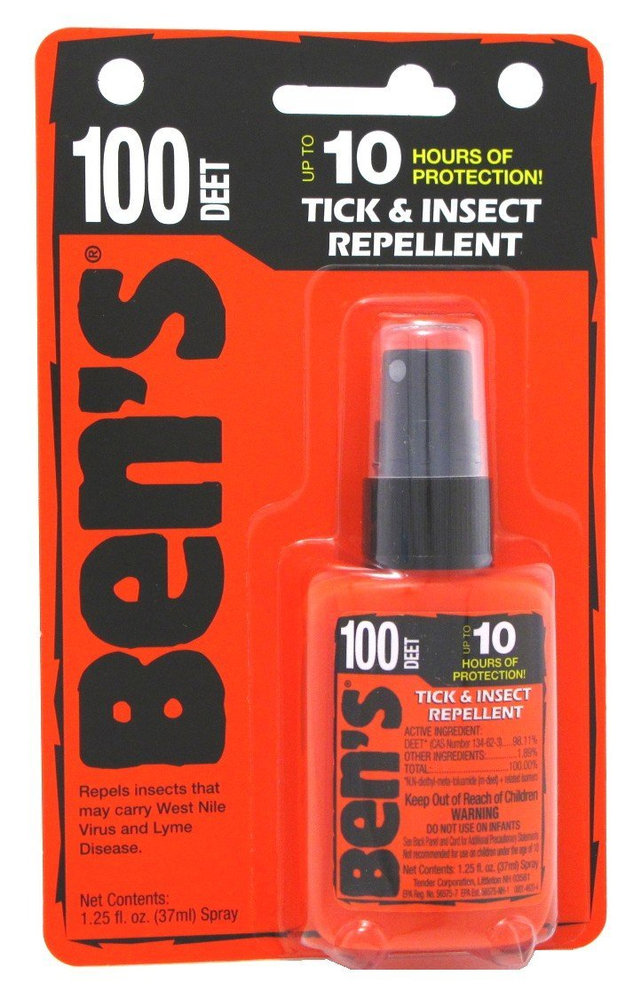Bens Tick & Insect Repellant 100 Deet 1.25 Ounce Pump Carded (37ml) (6 Pack) by Ben's
