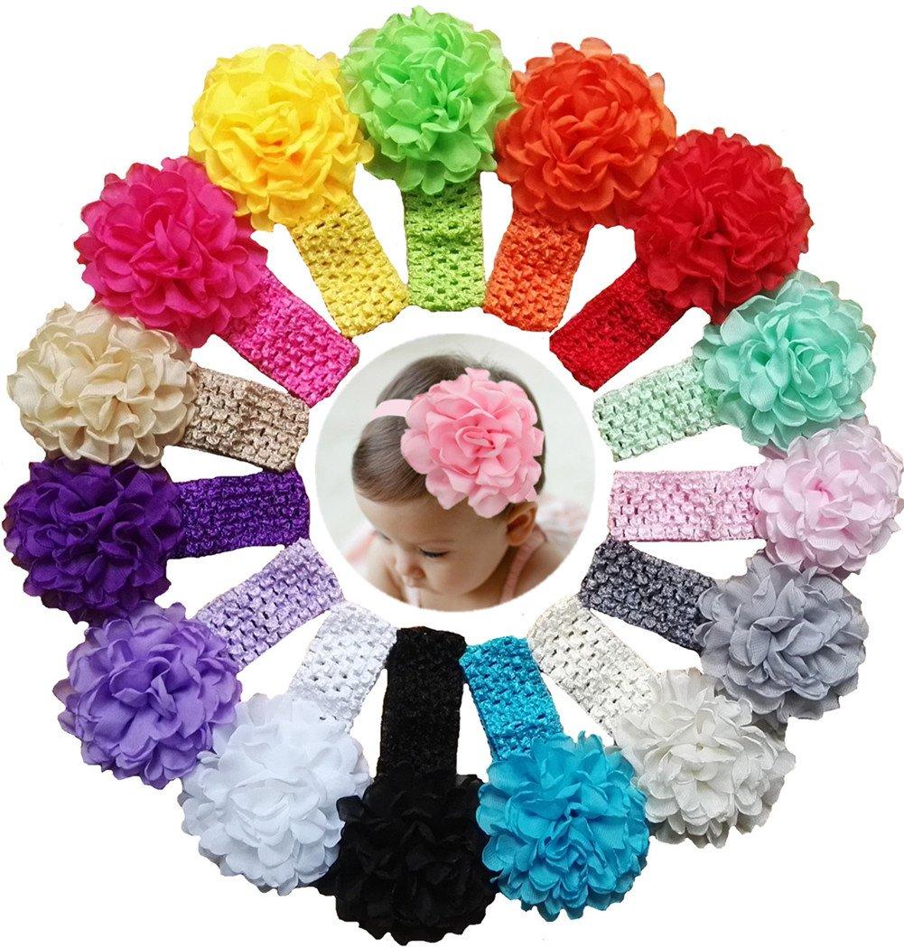 Qandsweet Baby Girl's Headbands Chiffon Hair Bow (15 Pack)