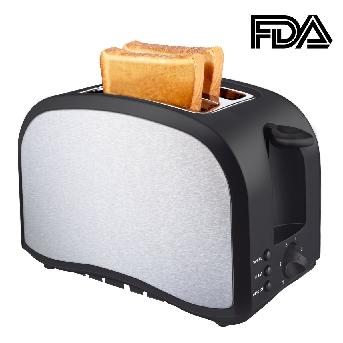 Toaster Top Rated Best Prime 2 Slice Compact Brushed Stainless Steel Bread Toasters Quickly Toasts