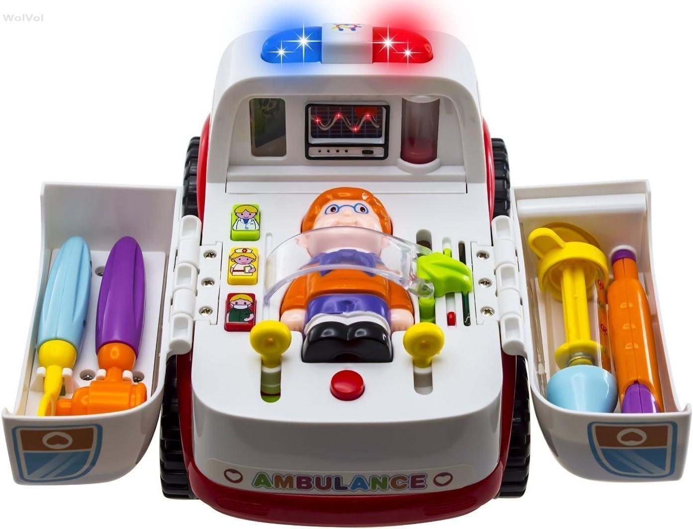 WISHTIME Rescate de la Ambulancia del vehículo Bump and Go con Diversos Equipos médicos, Las Luces y los Sonidos de la música médicos Juguete