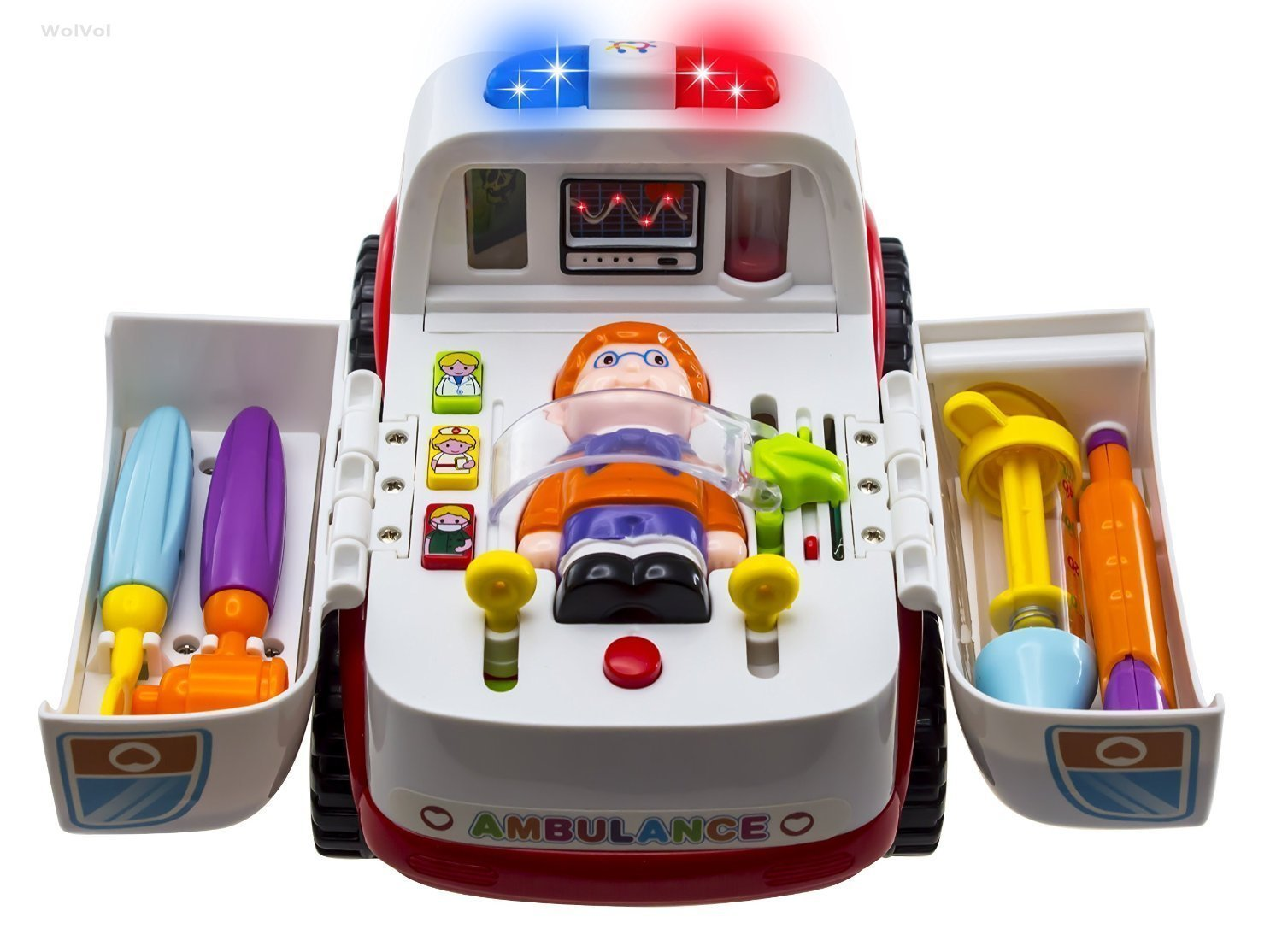 Ambulance Rescue Vehicle Doctors Set - WISHTIME Pretend Play Toy Rescue Vehicle Bump and Go with Various Medical Equipment, Lights Music and Medical Sounds For Children Kids Hanji