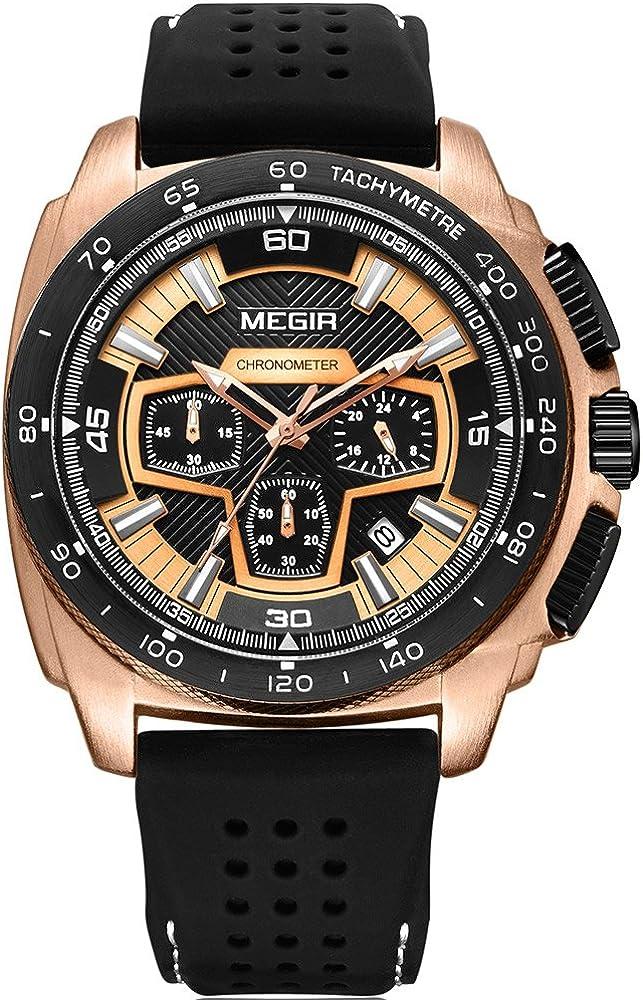 Megir Mens Sport Chronograph Quartz Watches Silicone Band Army Military 24 Hours Wristwatch for Man 2056 Rose Gold