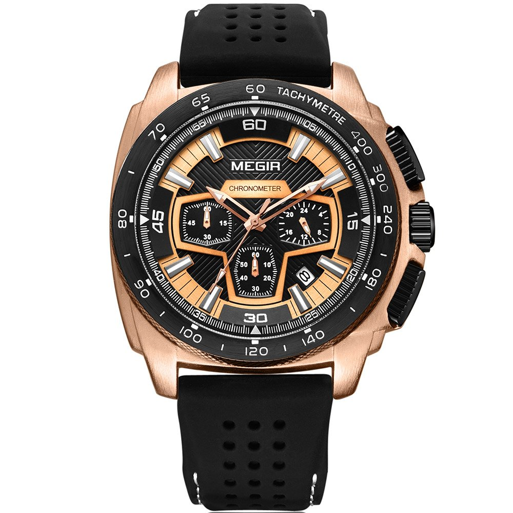 Megir Mens Sport Chronograph Quartz Watches Silicone Band Army Military 24 Hours Wristwatch for Man 2056 Rose Gold