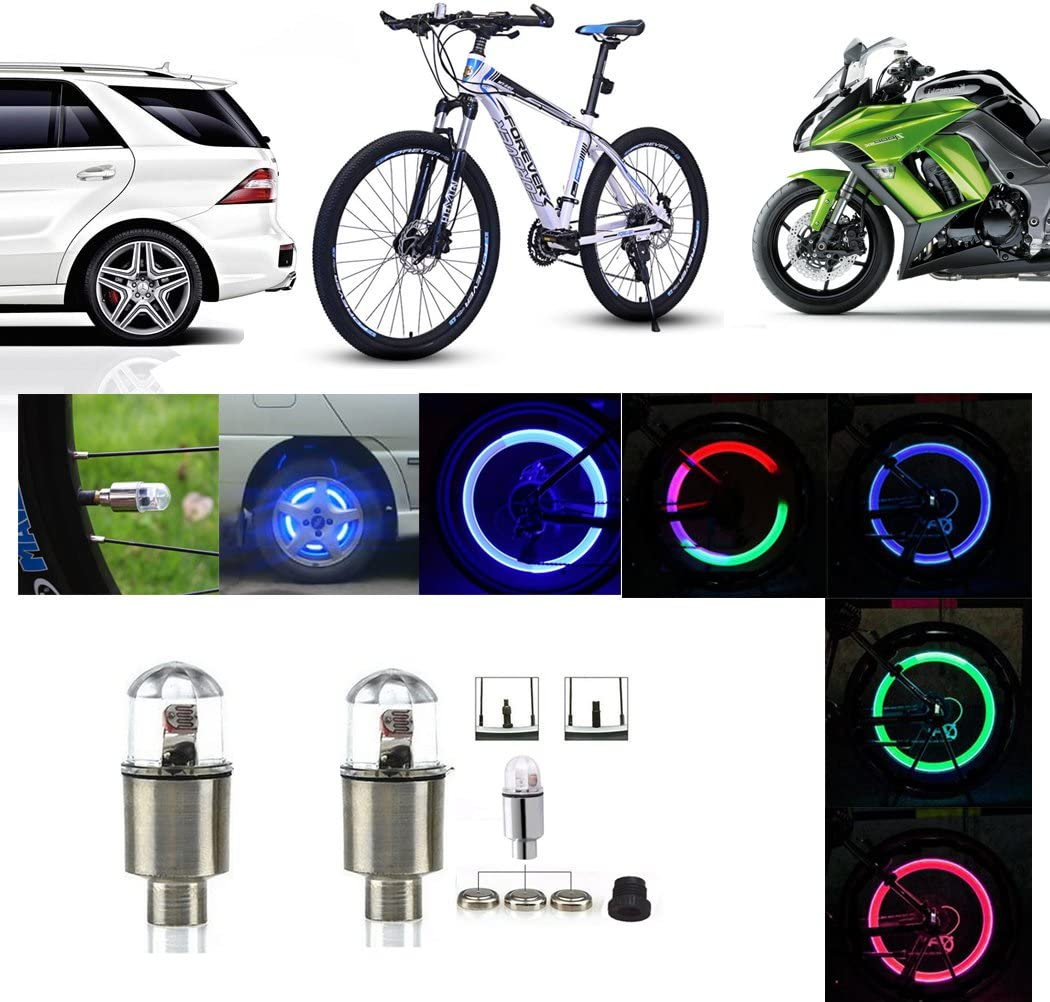 Blue Ocathnon A Pair of Flashing LED Valve Cap Light Wheel Tyre Lamp Bulb For Car Vehicle Auto Trucks Motorcycle Bike
