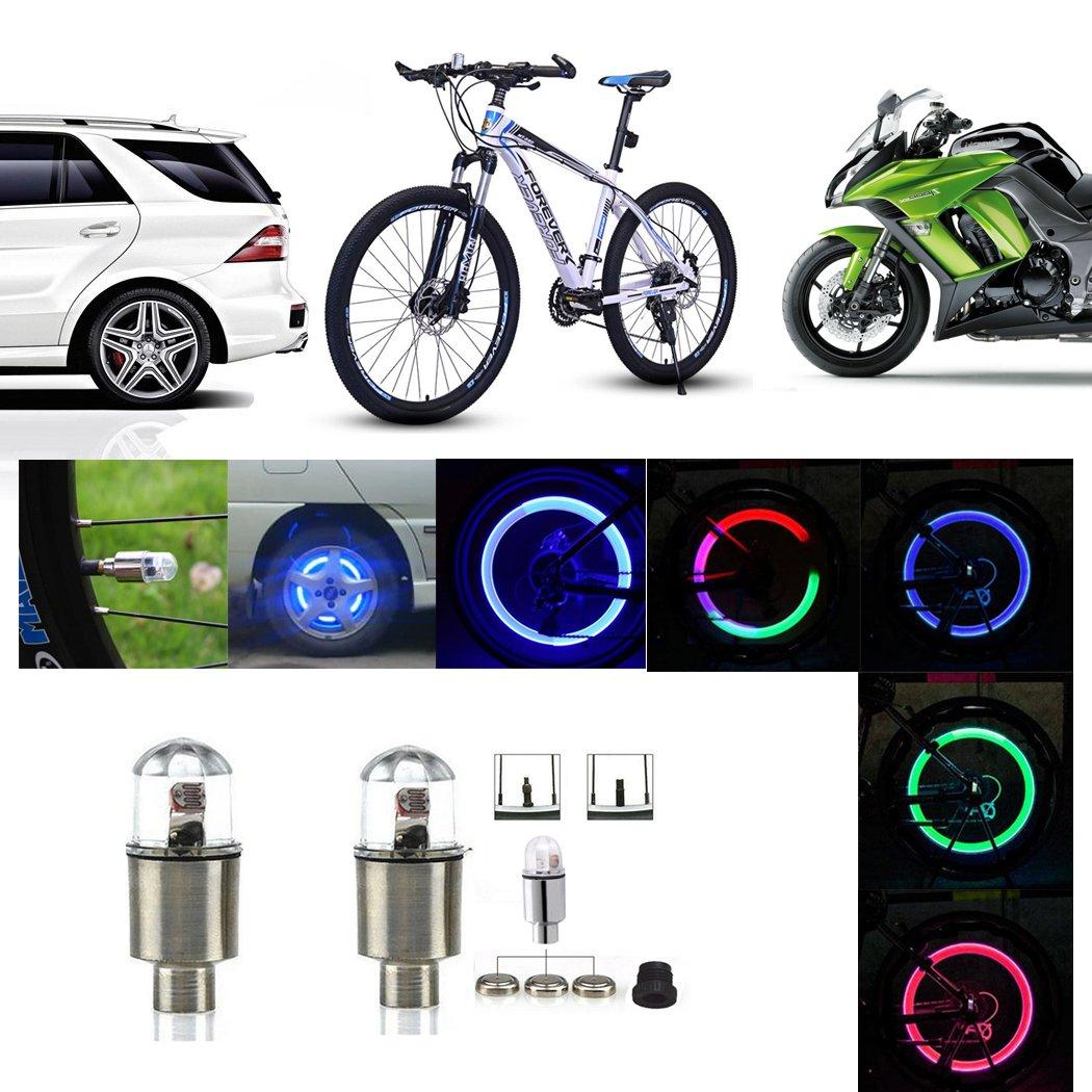 Multicolor Ocathnon A Pair of Flashing LED Valve Cap Light Wheel Tyre Lamp Bulb for Car Vehicle Auto Trucks Motorcycle Bike