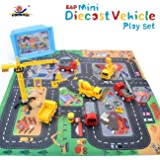 """EXERCISE N PLAY Mini Construction Vehicle Play Set a Kid Play Car Rug (28"""" x 31"""") , Engineering Vehicle Toy Play Diecast Vehicles Toy Cars Kids, Boys Girls"""