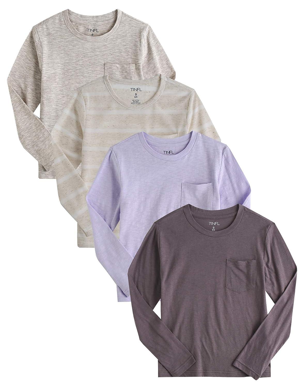 02f7ed18788 Amazon.com  TINFL 8-16 Years Junior Kids Boys Girls Unisex Longsleeve Round  Neck Multi Color Top T Shirts Multi Pack  Clothing