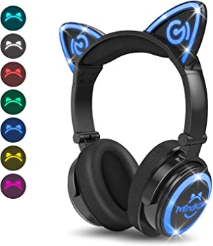 Amazon Com Mindkoo Bluetooth Headphones Wireless Over Ear Cat Ear Headphones With Led Light Foldable Built In Microphone And Volume Control For Cell Phones Iphone Ipad Laptop Pc Tv Kids Boys Girls Friends Electronics