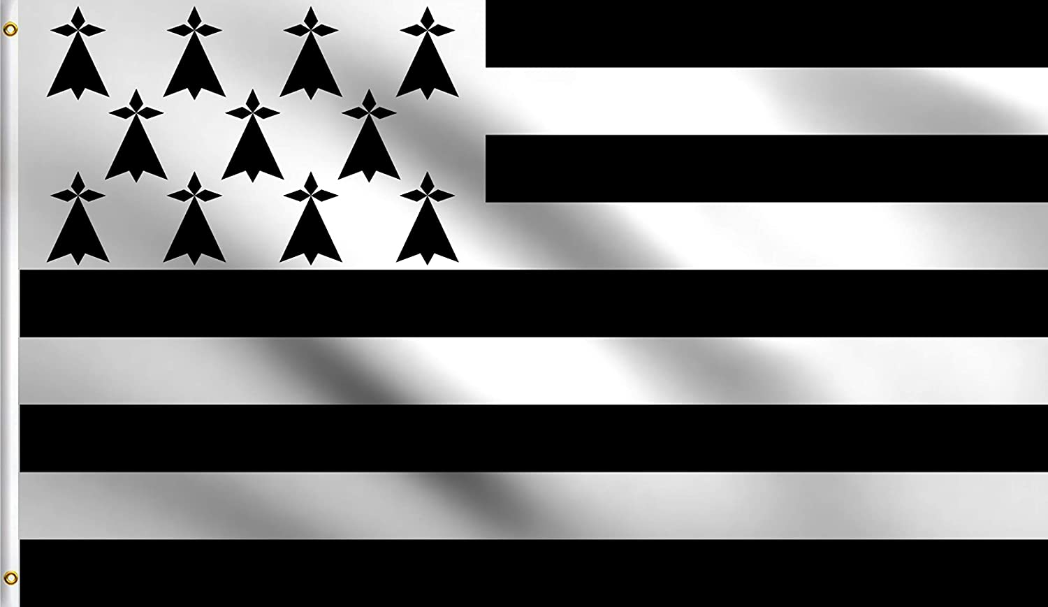 DMSE Brittany French Region Province of Bretagne Gwenn-ha-du Flag 3X5 Ft Foot 100% Polyester 100D Flag UV Resistant (3' X 5' Ft Foot)