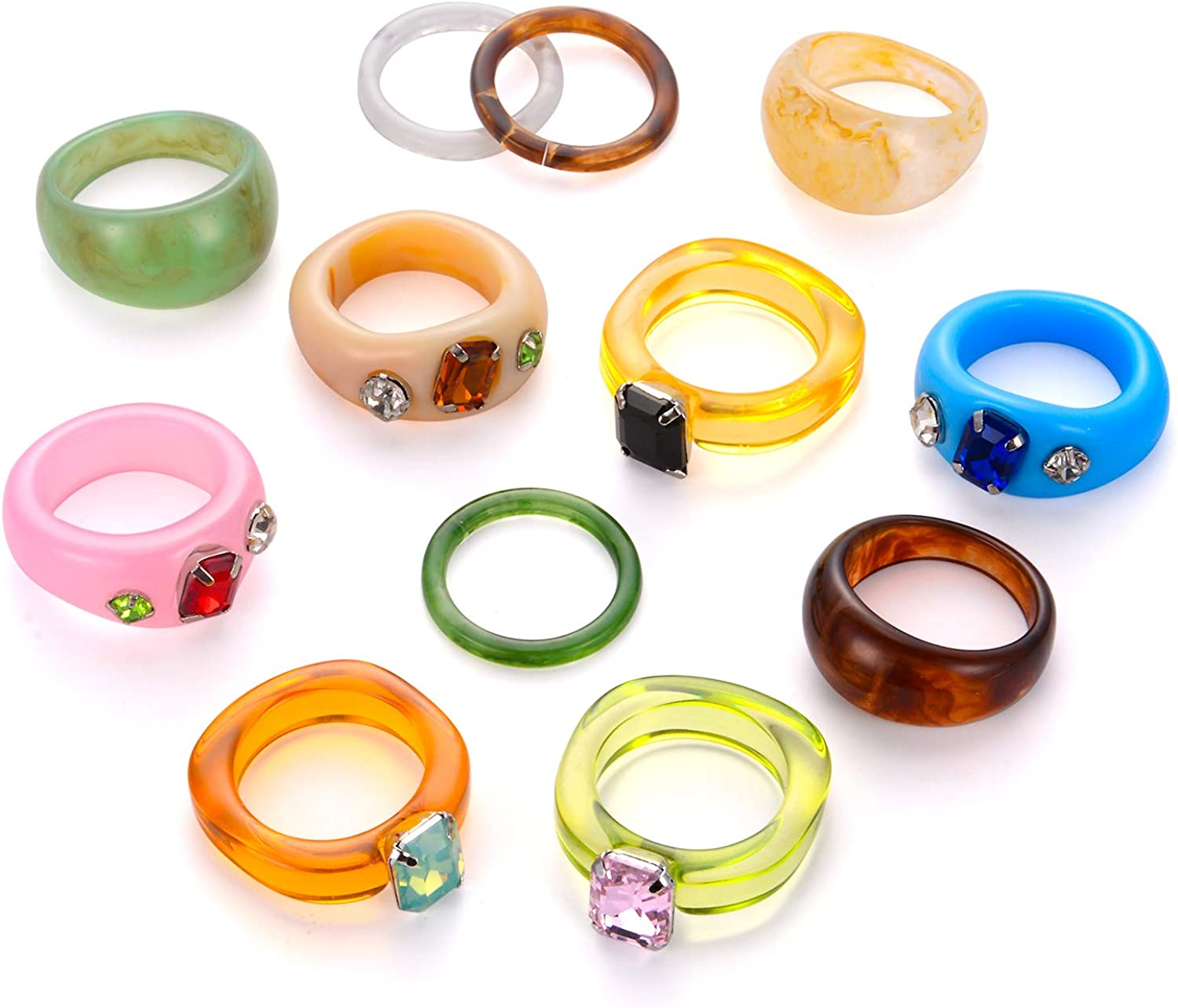 BMMYE 12Pcs Resin Rings for Women Retro Acrylic Colorful Chunky Rings Pack Clear Plastic Gem Rhinestone Bands Diamand Finger Ring for Adult Women's Beach Jewelry