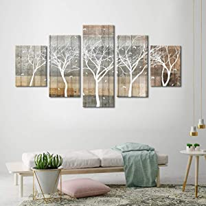 Autumn Painting On Canvas White Tree Silhouette On Wooden Background Wall Art 5 Piece Large Landscape Falling Leaves Fall Artwork Framed Ready to Hang for Home Decoration 32x60inch