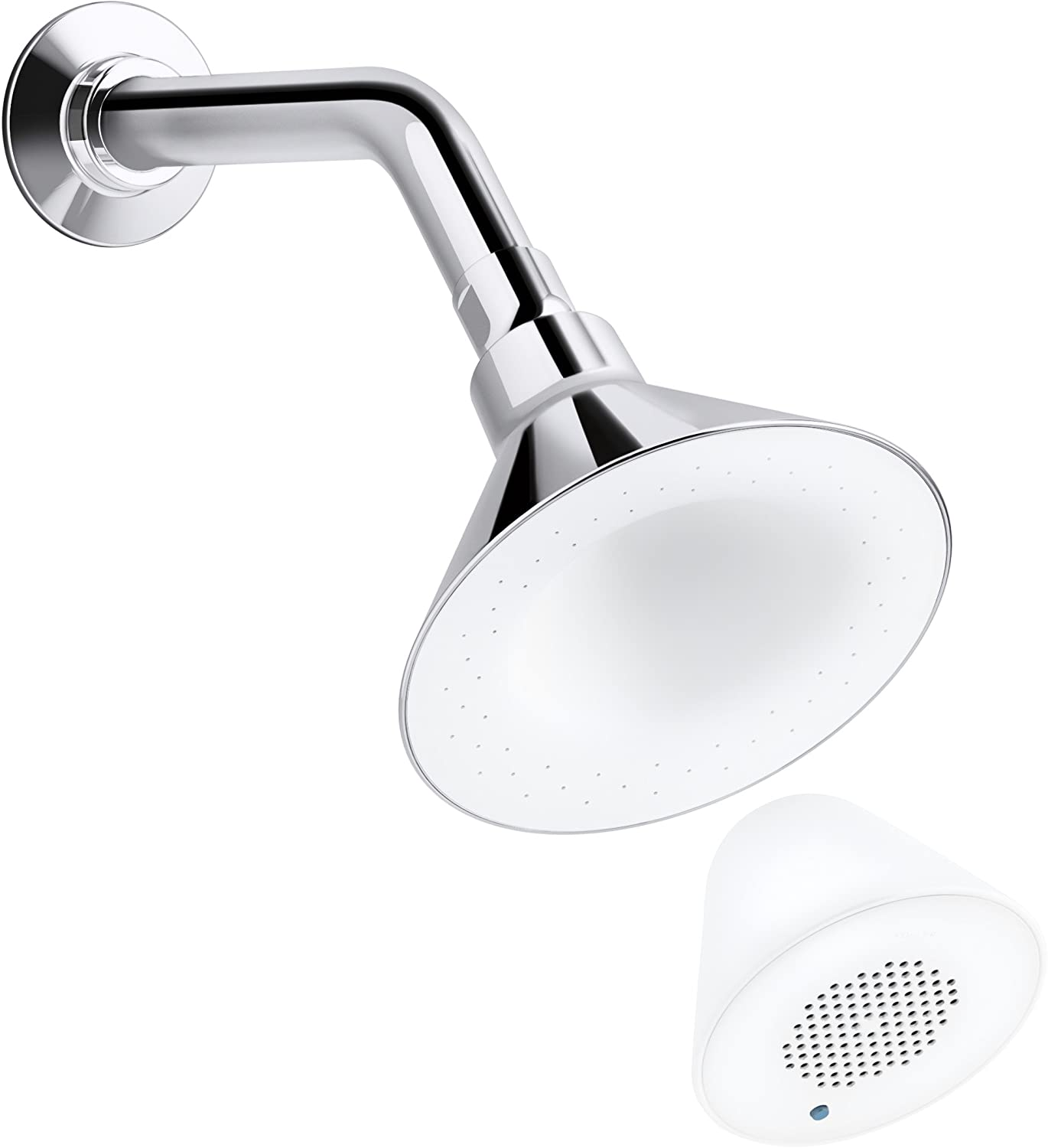 KOHLER K-9245-E-0 2.0-GPM Moxie Showerhead and Wireless Speaker, White