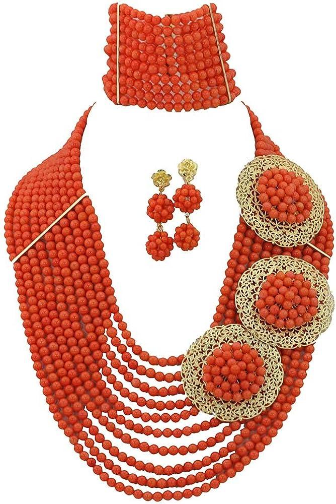 AfricanBeads 10-row naranja coral novia joyería conjuntos collar pulsera pendientes, boda novia dama joyas