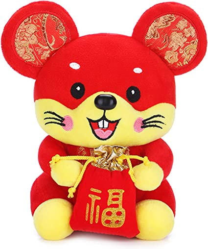 2020 Year Of The Rat Mascot Plush Toy Mouse Hanging Deacoration New Year SI
